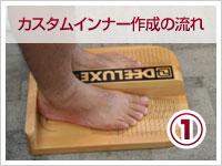 1 まずは足の正確なサイズを測りサイズ選び これをキチンと測らなければ、ピッタリのブーツは出来上がりません。